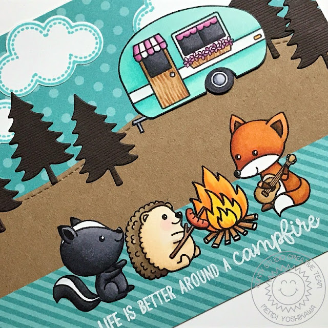 Sunny Studio Stamps: Critter Campout & Happy Camper Summer Camping Card by Mendi Yoshikawa