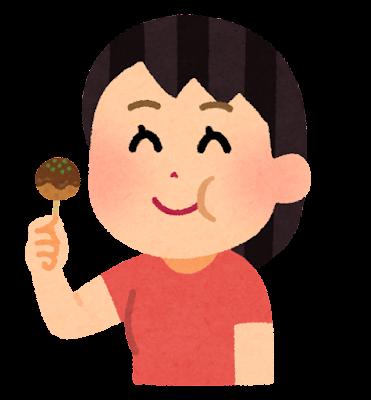 たこ焼きを食べる人のイラスト(女性)