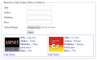 Bind, save, edit, update, delete example in DataList in asp.net
