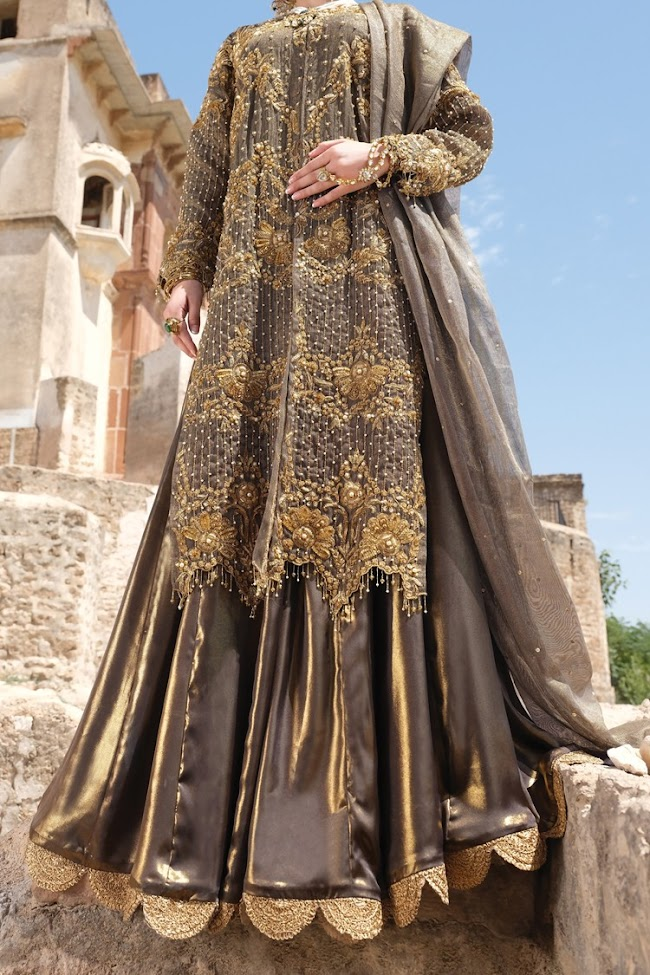 Almirah Gold color banarsi suit Party wear collection 2020