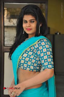 Telugu Actress Alekhya Stills in Green Saree at Swachh Hyderabad Cricket Press Meet  0024.JPG