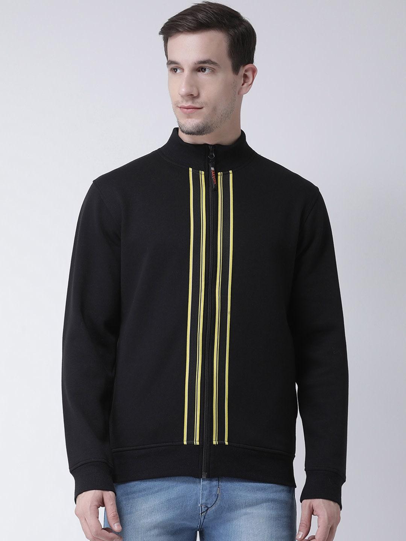 Club York Men Black Striped Sweatshirt