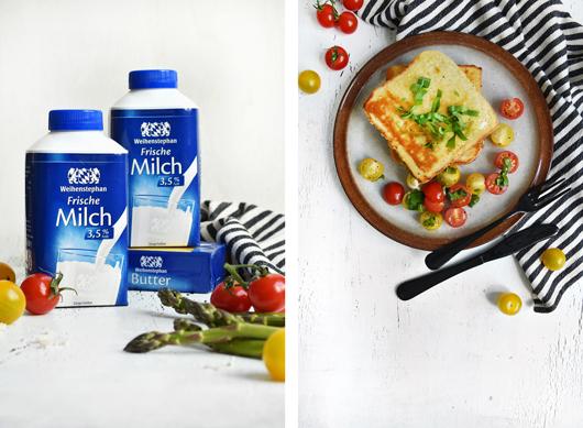 Weihenstephan: French Toast mit Spargel, Tomaten & Ziegenkäse