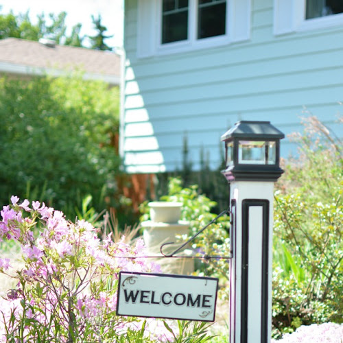 Salvaged Newel Post Solar Outdoor Welcome Sign