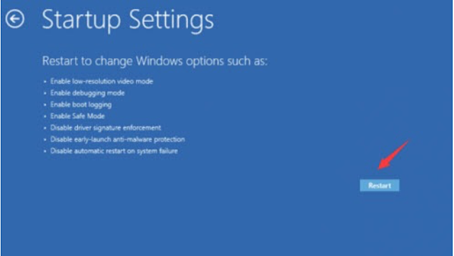 Click Startup Settings to continue.