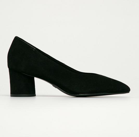 Tamaris - Pantofi de piele intoarsa negri cu tocul gros