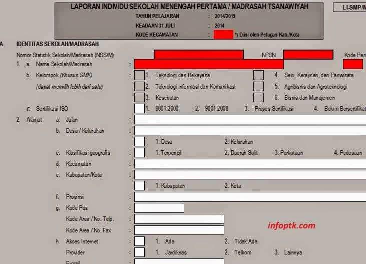 Download Formulir Laporan Individu Sekolah Sd Sampai Slta Info Ptk Info Gtk