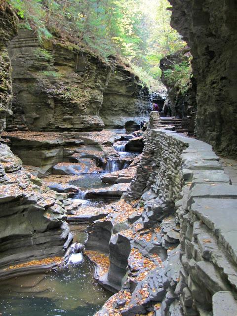cascades beside the Gorge Trail, Watkins Glen
