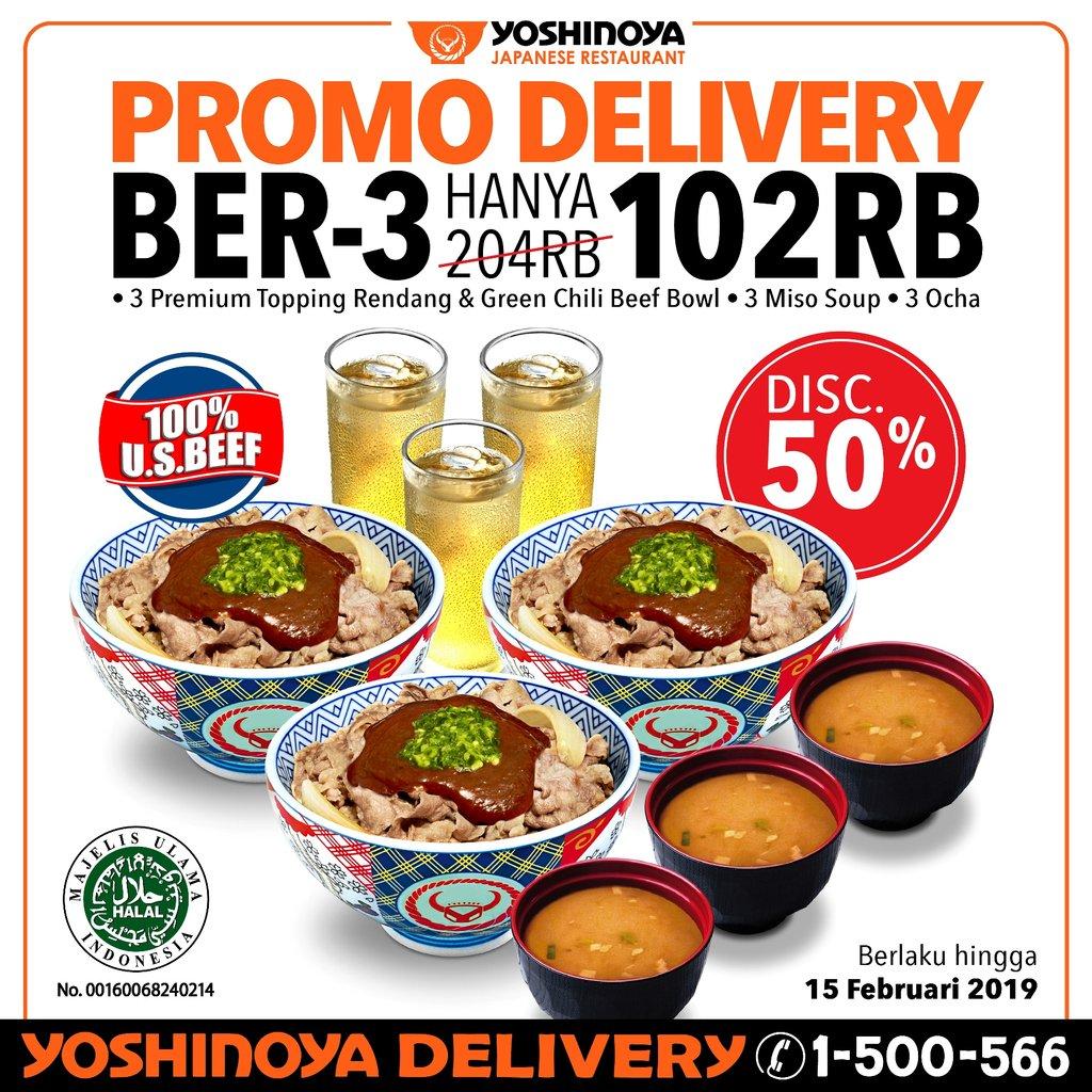 #Yoshinoya - Promo Diskon 50% Delivery Ber-3 Hanya 102 K (s.d 15 Feb 2019)