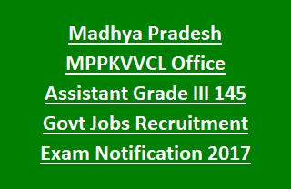Madhya Pradesh MPPKVVCL Office Assistant Grade III 145 Govt Jobs Recruitment Exam Notification 2017