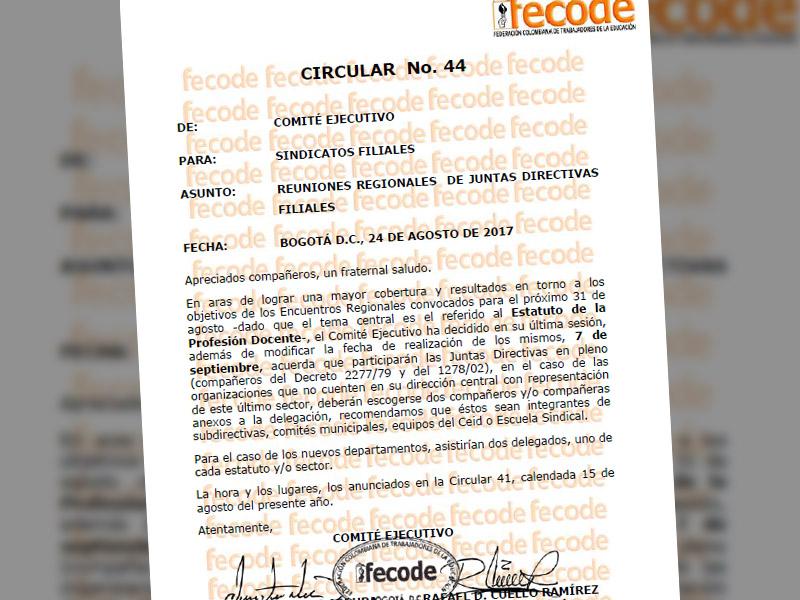 Circular Nº 44 Fecode: Reuniones Regionales de Juntas Directivas Filiales