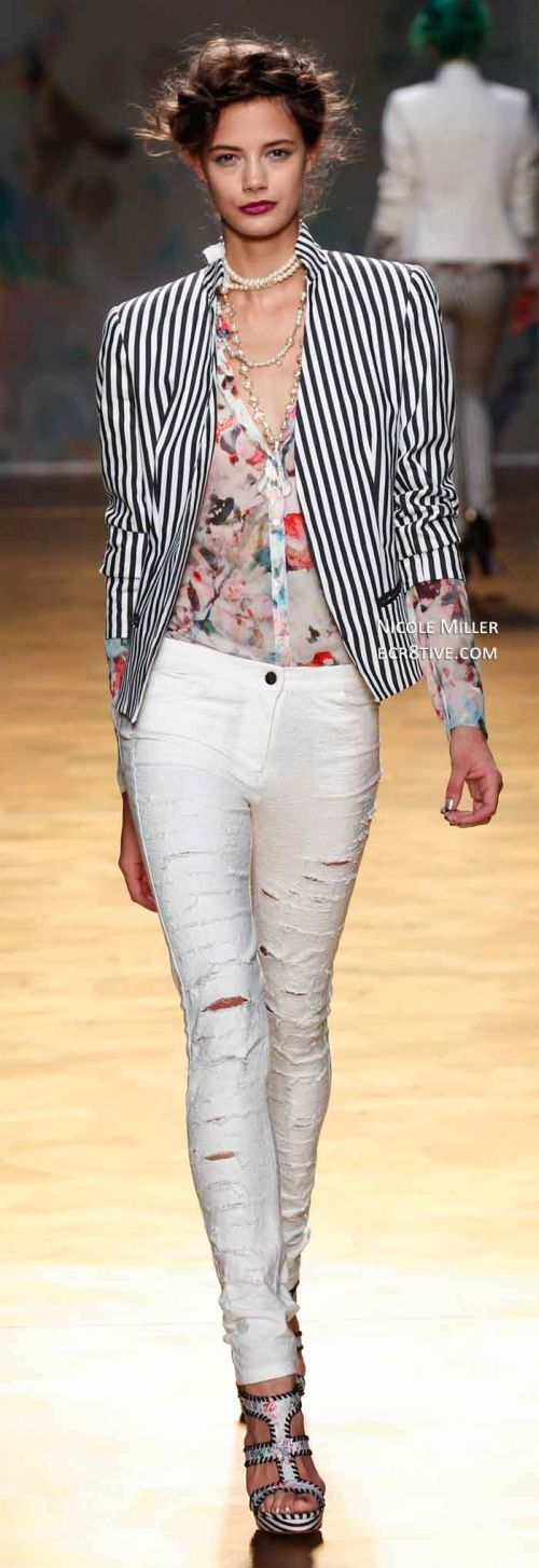 runway look: white skinny jeans and stripes by Nicole Miller S/S 2014