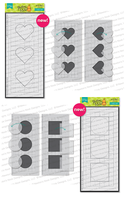 Slimline Masking Stencil Sets with Hearts, Circles, and Squares Stamp Set by Newton's Nook Designs #newtonsnook