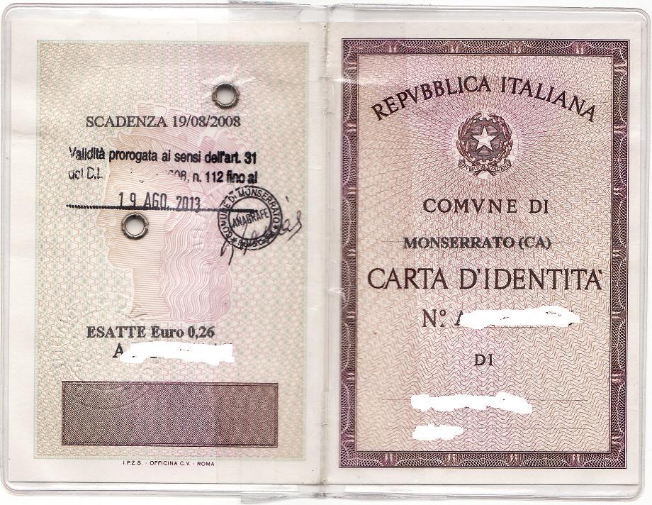 Italian Id Card Travel