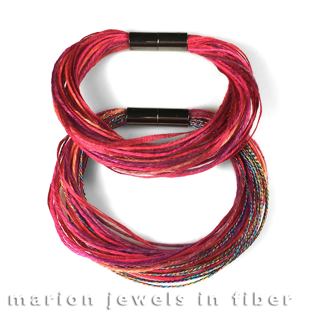 Multi Strand Linen Bracelets with Metallic Accents