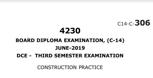 Diploma Construction Practice Previous Question Paper c14 June 2019
