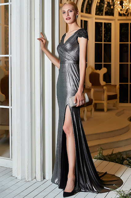 new cap sleeves v cut prom gown with slit