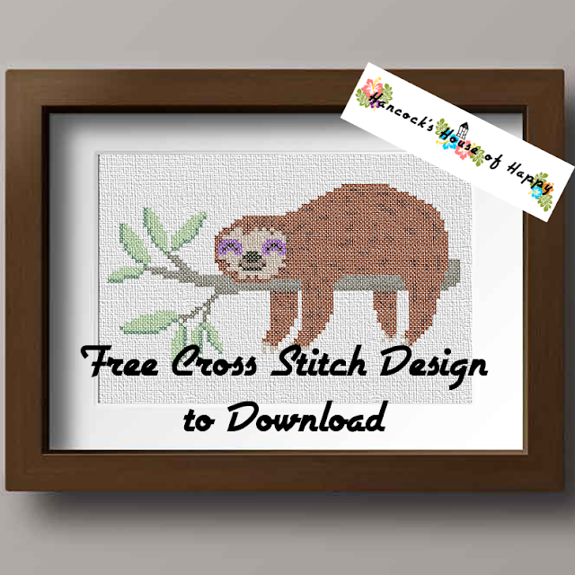 A Sleepy Sloth Cross Stitch Pattern Free to Download PLUS a Patreon Bonus
