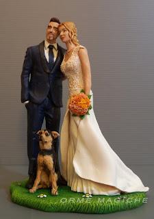 statuette sposi torte matrimonio cake topper personalizzate sposa bionda cagnolino orme magiche