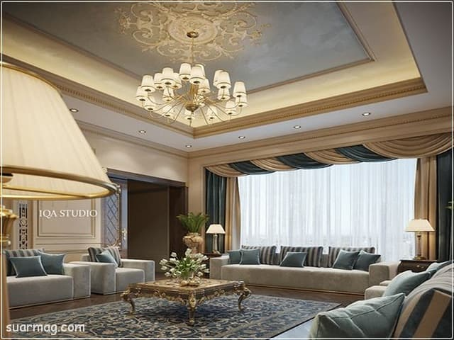 ديكورات جبس اسقف راقيه كلاسيك 11   Classic Gypsum Ceiling 11