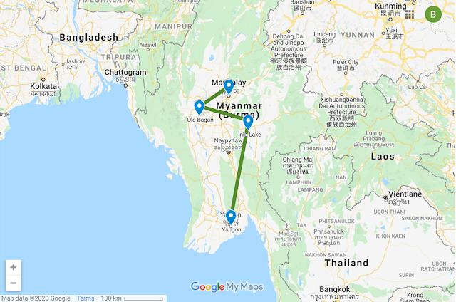 Myanmar Travel Route