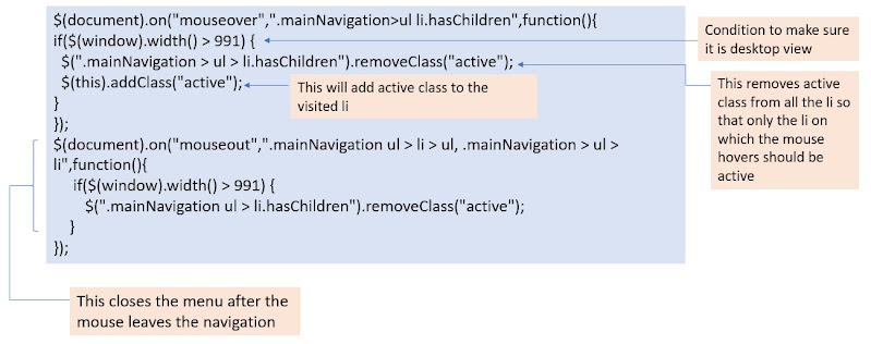 JQuery Code Snippet for the Desktop Navigation