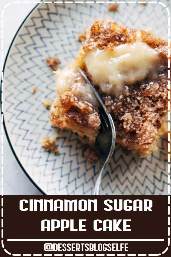 This simple cinnamon sugar apple cake is light and fluffy, loaded with fresh apples, and topped with a crunchy cinnamon sugar layer! #DessertsBlogSelfe #cake #apple #dessert #baking #recipe #falldesserts