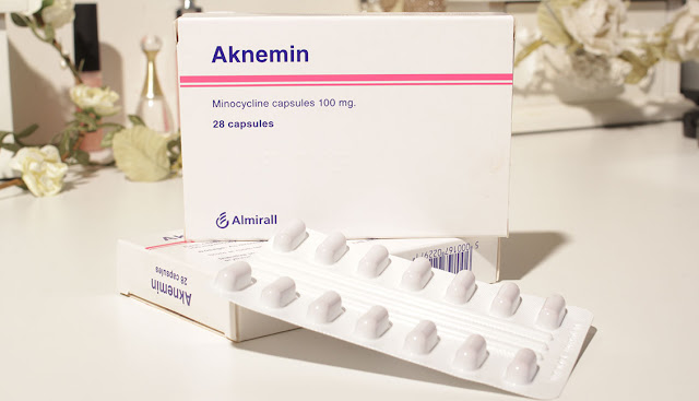 box of minocycline antibiotic medication for skin