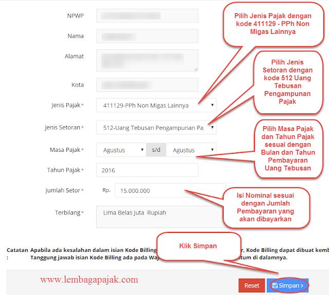 Mengisi kode akun pajak uang tebusan tax amnesty pada E-Billing Pajak Online