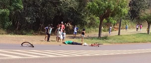 Roncador: Acidente de moto e bicicleta na Avenida São Pedro