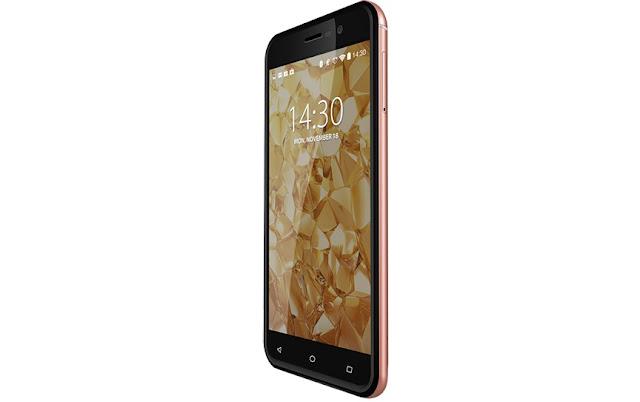 Tampilan Samping Miring Advan i5A 4G LTE Glassy Gold