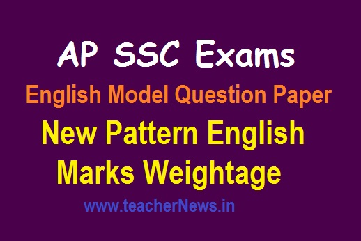 AP SSC English New Pattern Model Question Paper 2019-20 | English Weightage for Paper 1 & 2