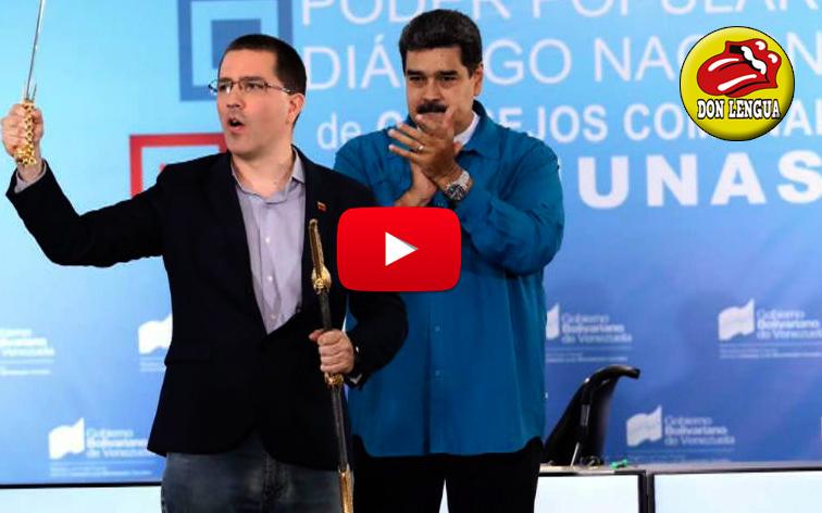 Jorge Arreaza recibió la prostituida espada de Bolívar de manos de Maduro