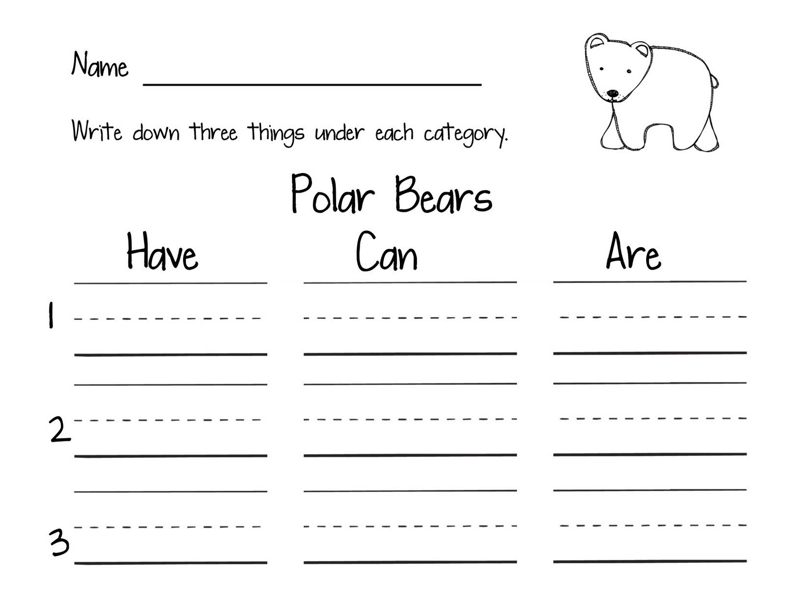 Polar Bear Worksheet For 1st Grade