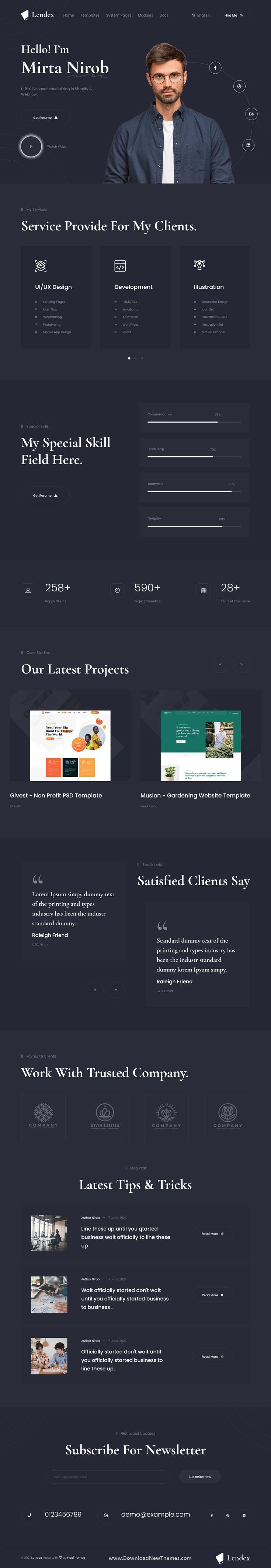 Lendex - Personal Portfolio HubSpot Theme