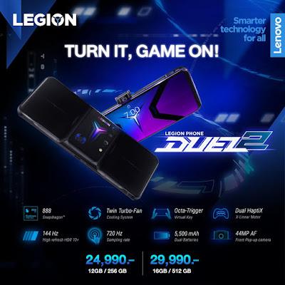ยกกำลังแบบคูณสองให้กับประสบการณ์โมบายเกมมิ่ง ด้วย Lenovo Legion Phone Duel 2 ใหม่ล่าสุด เปิดตัวเกมมิ่งสมาร์ทโฟนรุ่นแรกของโลกที่มาพร้อมพัดลมคู่เพื่อระบายความร้อน Twin Turbo-Fan Cooling และไกควบคุมอัจฉริยะ Octa-Trigger Controls