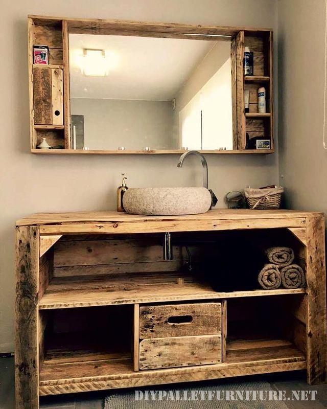 este impresionante mueble para el bao ha sido creado por jacques lahaye el mueble est construido con palets y tiene instalado tanto un lavamanos como un - Muebles Palets