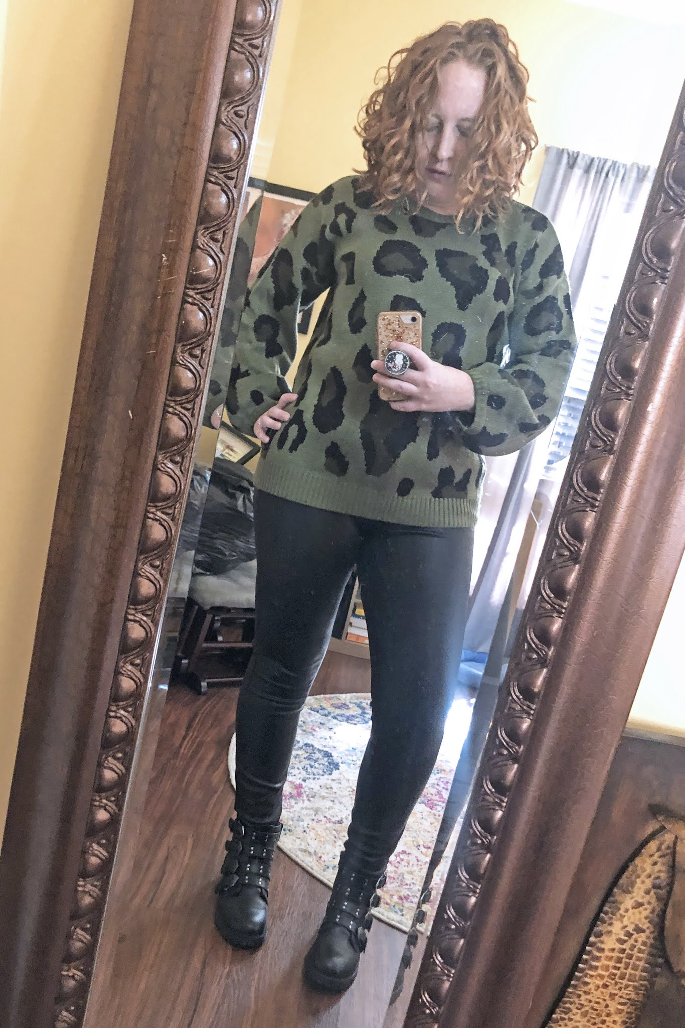 green leopard sweater leather pants