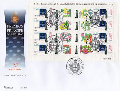 filatelia, sobre, sellos, matasellos, fundación, Príncipe de Asturias, aniversario