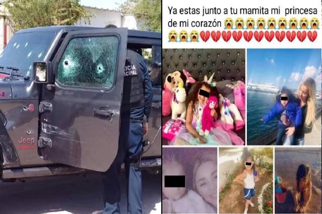 """""""Ya estas junto a tu mamita princesa de mi corazón"""" una madre y su hija son ejecutados por Sicarios de Los Salazar ligados a Los Chapitos en Sonora cuando iban en su  Jeep Gladiator"""