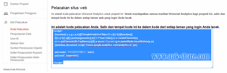 Halaman Kode Google Analytics