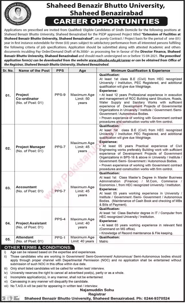New Jobs in Pakistan Shaheed Benazir Bhutto University Shaheed Benazirabad Jobs 2021 | Download Application Form