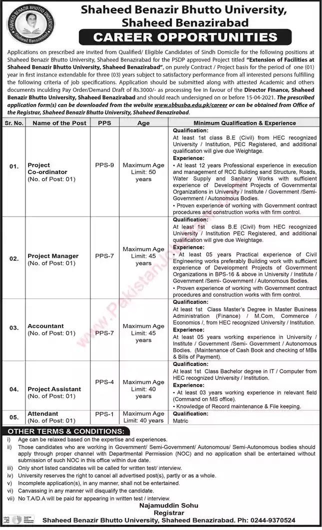 New Jobs in Pakistan Shaheed Benazir Bhutto University Shaheed Benazirabad Jobs 2021 | Download Application Form