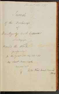 Title page, Lieutenant James Cook, Journal of the Proceedings of His Majesty's Bark Endeavour in a Voyage Round the World