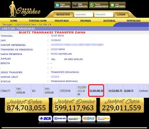 Selamat Kepada Member Setia Ompoker WD Rp 34.500.000