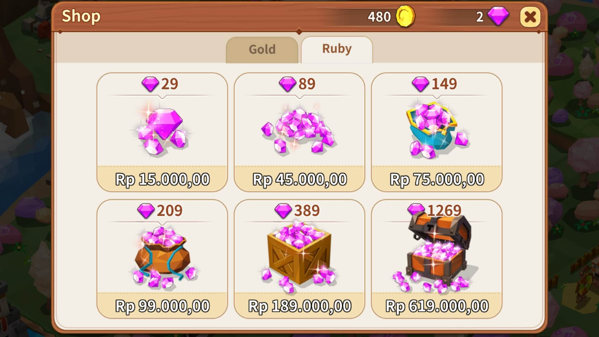 Memilih Item Pembelian Ruby Fantasy Town
