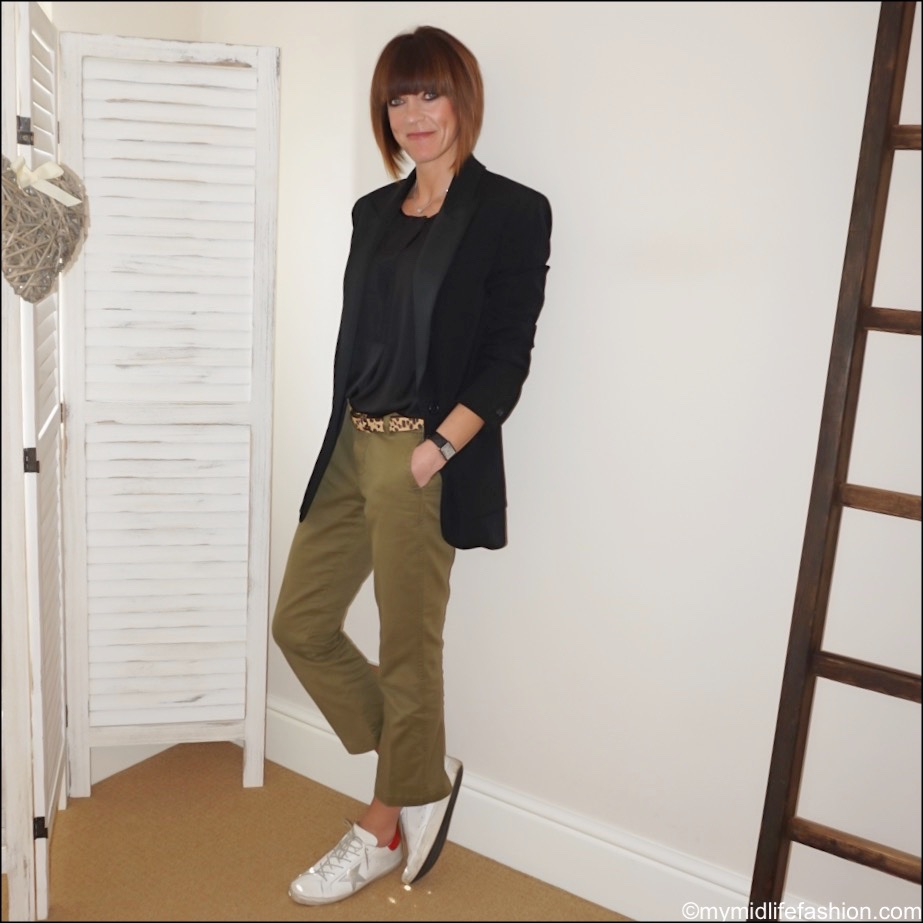 my midlife fashion, Cabi snap blouse, Isabel Marant boyfriend tuxedo jacket, j crew cropped sammie chinos, golden goose superstar low top leather trainers