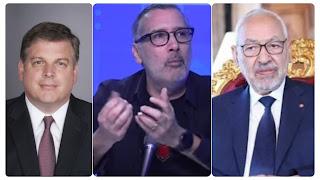 """برهان بسيس يكشف: السفير الأمريكي """"شق فطرو"""" في منزل راشد الغنوشي (فيديو)"""