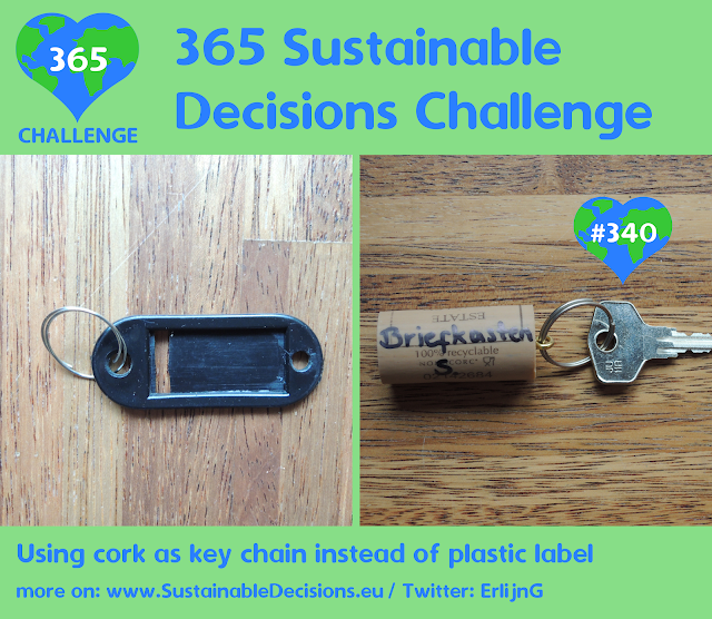 Using cork as key chain instead of plastic label, Upcycling, sustainable living, climate action, sustainability
