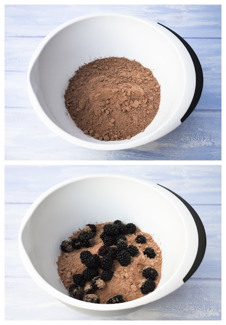 Quick Blackberry Chocolate Cake - cake mix and blackberries